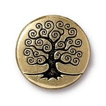 15.5mm Tierracast Button - Antique Gold Tree of Life - 1