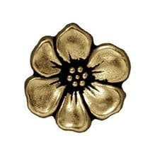 15.5mm Tierracast Button - Brass Oxide Apple Blossom - 1