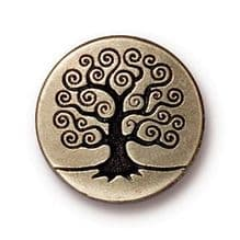 15.5mm Tierracast Button - Brass Oxide Tree of Life - 1
