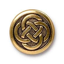 16mm Tierracast Button - Antique Gold Celtic Knot - 1
