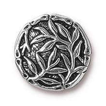 16mm Tierracast Button - Antique Silver Bamboo - 1