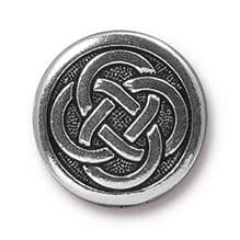 16mm Tierracast Button - Antique Silver Celtic Knot - 1