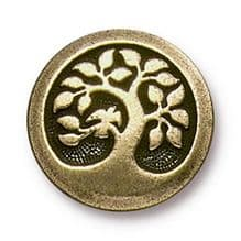 16mm Tierracast Button - Brass Oxide Bird in a Tree - 1