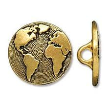 17mm Tierracast Button - Antique Gold Earth - 1