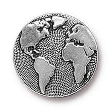 17mm Tierracast Button - Antique Silver Earth - 1
