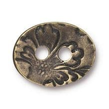 17mm Tierracast Button - Brass Oxide Jardin - 1