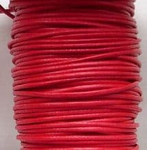 1mm Waxed Cotton Cord Red - 5 Metres