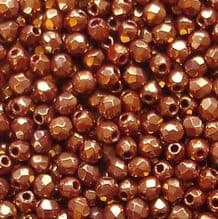 2.5mm Fire Polished, Dark Bronze Opaque Red - 100