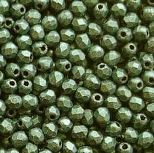 2.5mm Fire Polished, Light Green Suede  - 100