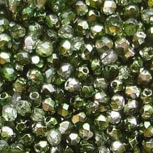 2.5mm Fire Polished, Mirror Fern Green  - 100