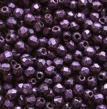 2.5mm Fire Polished, Purple Suede - 100