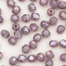3mm Fire Polished, Opaque Amethyst Lustre - 50