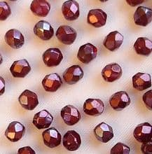 3mm Fire Polished, Siam Ruby Vega - 50