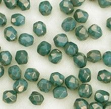 3mm Fire Polished, Turquoise Moon Dust - 50