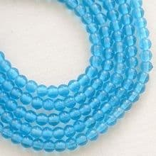 3mm Round Czech Glass Beads Aquamarine - 100