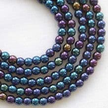 3mm Round Czech Glass Beads Blue Iris - 100