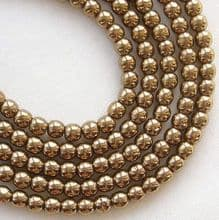 3mm Round Czech Glass Beads  Bronze - 100