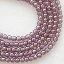 3mm Round Czech Glass Beads Bronze Illusion - 100