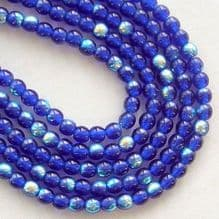 3mm Round Czech Glass Beads Cobalt AB - 100