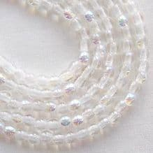 3mm Round Czech Glass Beads Crystal AB - 100