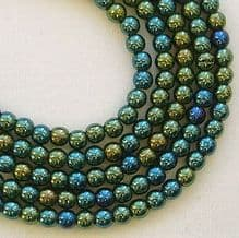 3mm Round Czech Glass Beads Green Iris - 100