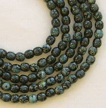 3mm Round Czech Glass Beads Jet Picasso - 100