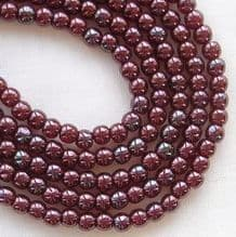 3mm Round Czech Glass Beads Metallic Amethyst Lustre - 100