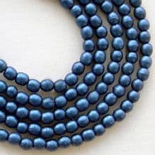 3mm Round Czech Glass Beads Metallic Blue Suede - 100