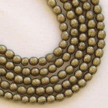 3mm Round Czech Glass Beads Metallic Gold Suede - 100