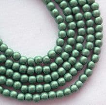 3mm Round Czech Glass Beads Metallic Light Green Suede - 100