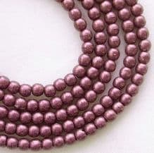 3mm Round Czech Glass Beads  Metallic Pink Suede - 100