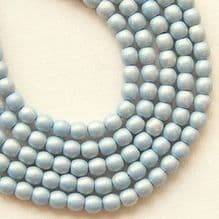 3mm Round Czech Glass Beads Neon Blue Grey - 100