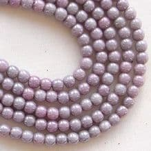 3mm Round Czech Glass Beads Opaque Amethyst Lustre - 100