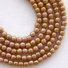 3mm Round Czech Glass Beads Opaque Rose Gold Topaz Lustre - 100