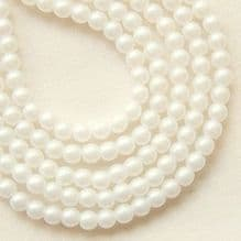 3mm Round Czech Glass Beads Powdery Pastel White - 100
