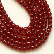 3mm Round Czech Glass Beads Ruby - 100