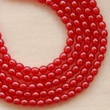3mm Round Czech Glass Beads Transparent Pearl Fruit Punch - 100