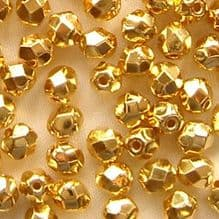 4mm Fire Polished, 24K Gold Plate - 50
