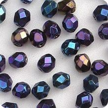 4mm Fire Polished, Blue Iris - 50