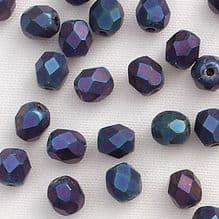 4mm Fire Polished, Matt Blue Iris - 50
