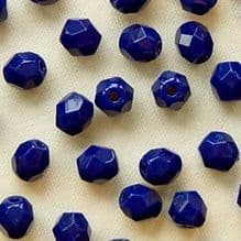 4mm Fire Polished, Navy Blue - 50