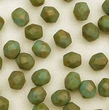 4mm Fire Polished, Per. Turquoise Copper Picasso - 50
