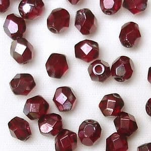 4mm Fire Polished, Siam Ruby Vega - 50