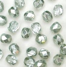 4mm Fire Polished, Silvered Light Ocean Green - 50