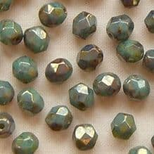 4mm Fire Polished, Turquoise Bronze Picasso - 50
