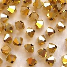 4mm Preciosa Crystal Bicone Crystal Aurum - 20