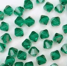 4mm Preciosa Crystal Bicone Emerald - 144