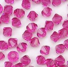 4mm Preciosa Crystal Bicone Fuschia - 20