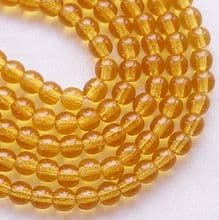 4mm Round Czech Glass Beads Amber - 100