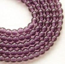 4mm Round Czech Glass Beads Amethyst - 100